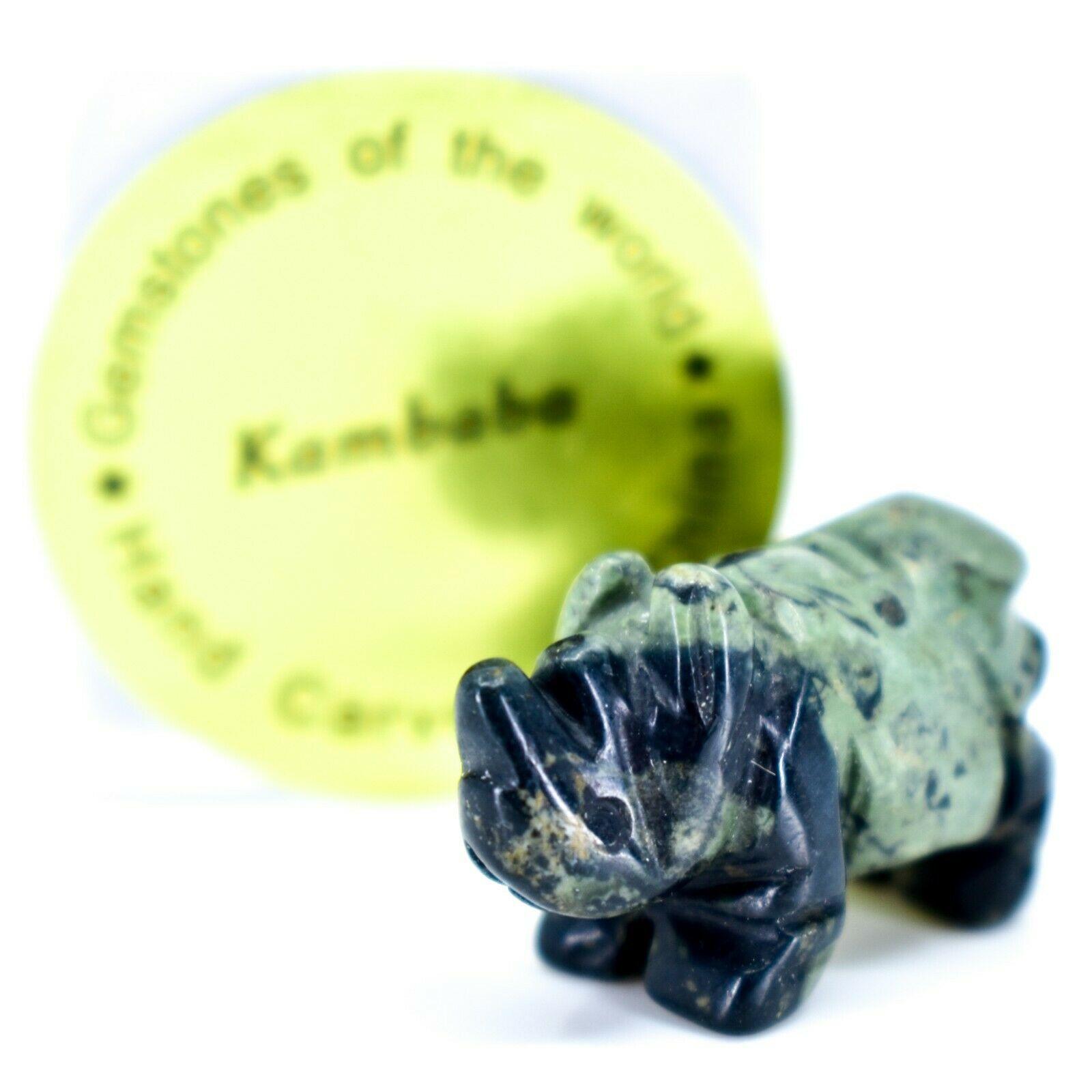 Kambaba Jasper Gemstone Miniature Rhinoceros Rhino Figurine Hand Carved in China