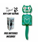 "GREEN BEAUTY KIT CAT CLOCK 15.5"" Free Battery MADE IN THE USA Kit-Cat Klock - $69.99"