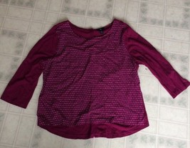 Gap Pink Print silky blouse Front Sleeves and Back Pink Knit size XL 3/4 Sleeve - $16.69