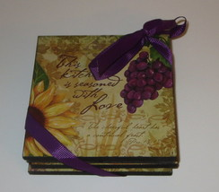 Bella Vita Collection Wooden Coaster Set of 4 Grapes Fruit Lemons Season... - $16.82