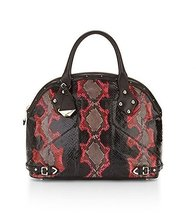 REBECCA MINKOFF Colette Snake Skin Embossed: Msrp $2535 Black Red Satchel - $569.05