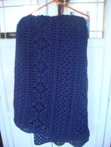 "Dark Blue, Handmade Crocheted ""Large"" Afghan, 85""X 89"" - $85.00"