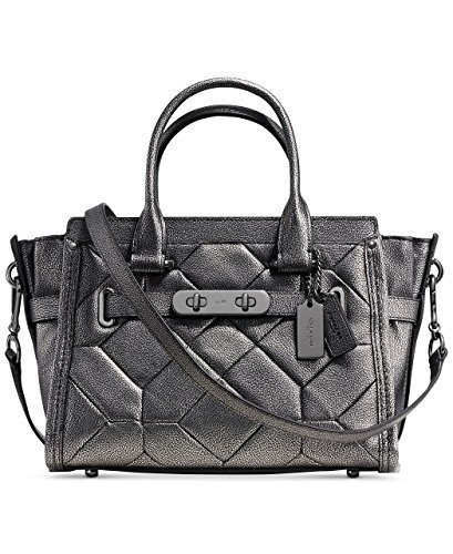 COACH Women's Mtllc Patchwork Coach Swagger 27 QB/Gunmetal Satchel [Accessory]