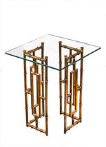 Gold Iron/Glass Top Bamboo Accent End Table,18''d x 23''H. - $296.01