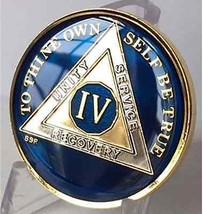 4 Year Midnight Blue AA Medallion Alcoholics Anonymous Chip Gold Tri-Plate Four - $19.98