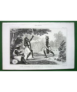 MOLUCCAS Bourour Island Natives War Dance - 1843 Antique Print - $7.27