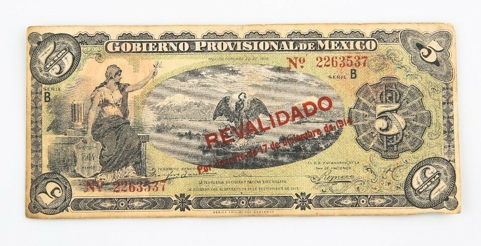 1914 México Peso Notas Lote (11) MB Gobierno Provisional Muy Fina 701b 702b 704