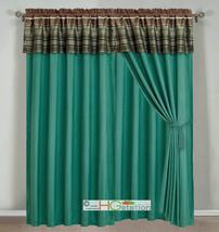 4-Pc Woodland Jacquard Striped Curtain Set Teal Brown Olive Bronze Valance Liner - $40.89