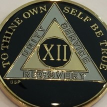 12 Year AA Medallion Classic Black Tri-Plate Alcoholics Anonymous Sobriety Chip - $19.98