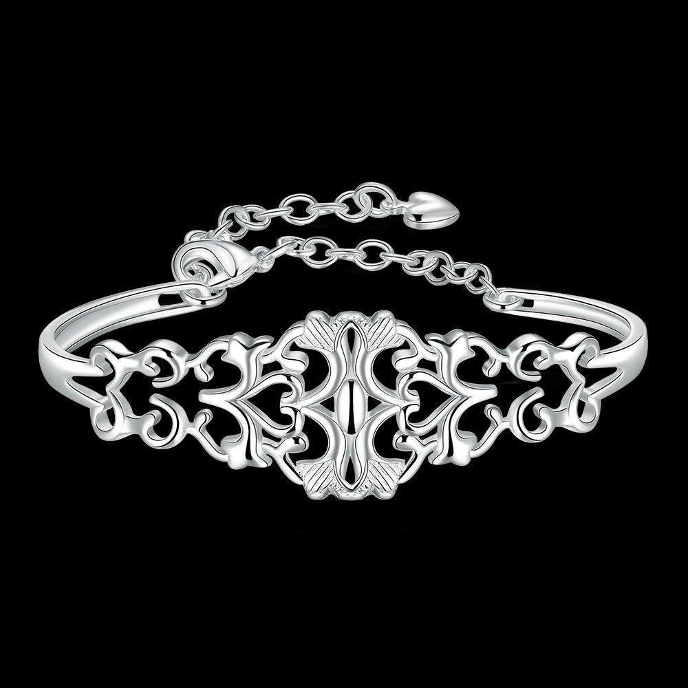 Silver Plated Punk Cuff Bracelet Bangle Chain Wristband