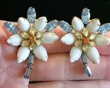 ALICE CAVINESS signed Flower Rhinestone Clip-on EARRINGS - 1 3/4 inches