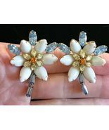 ALICE CAVINESS signed Flower Rhinestone Clip-on EARRINGS - 1 3/4 inches - $65.00