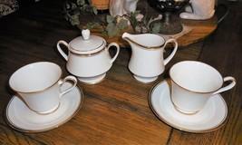 Noritake Ivory China Viceroy 7222 6pc Tea Cup & Saucer Set W/ Sugar & Creamer - $41.07