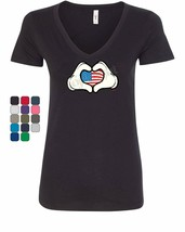 I Heart USA Cartoon Hands Women's V-Neck T-Shirt 4th of July Cute Americ... - $9.55+
