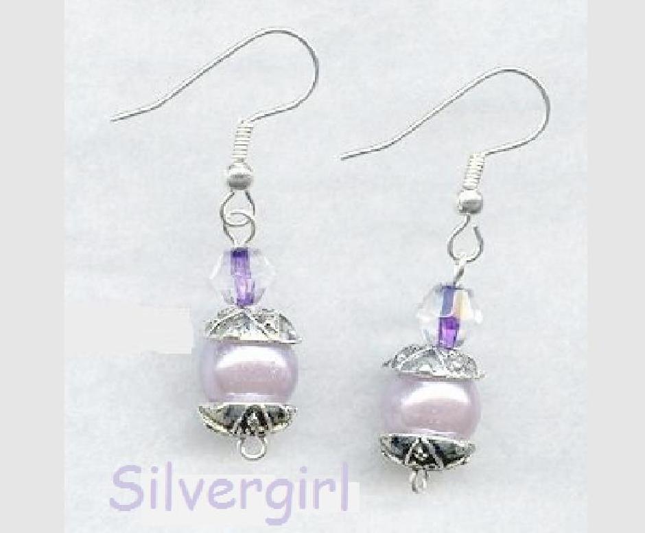 Glass Lavender Pearl Crystal SP Dangle Earrings