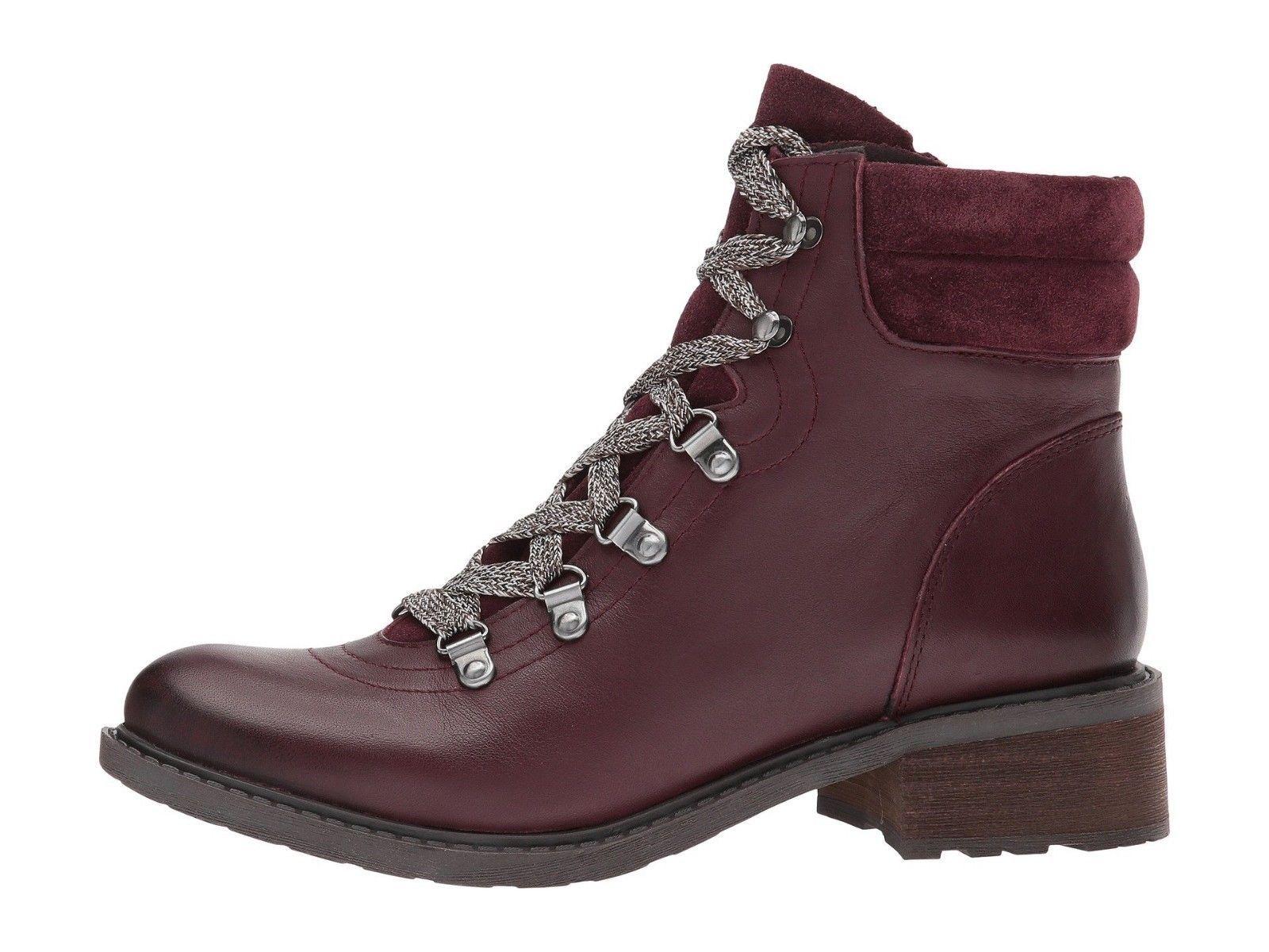 3c52e0995 Sam Edelman Darrah Lace Up Boot Wine Leather Suede Size US 6.5 M   EU