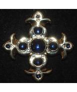 Vintage Stylized Fleur de Lis Cross Pin with Sapphire Blue Glass Beads - $9.99