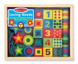 Melissa & Doug Deluxe Wooden 27-Piece Lacing Beads in a Box - $15.79