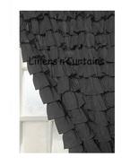 Chiffon BLACK Ruffle Layered SHOWER CURTAIN (FREE Size Customization) - $129.99