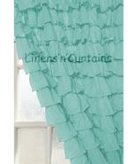 Chiffon AQUA BLUE Ruffle Layered SHOWER CURTAIN (FREE Size Customization) - $129.99