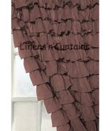 Chiffon CHOCO BROWN Ruffle Layered SHOWER CURTAIN (FREE Size Customization) - $129.99