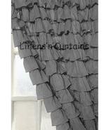 Chiffon DARK GREY Ruffle Layered SHOWER CURTAIN (FREE Size Customization) - $129.99
