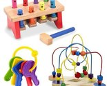Melissa & Doug Deluxe Pounding Bench with Classic Toy Bead Maze and First Key...