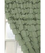Chiffon SAGE GREEN Ruffle Layered SHOWER CURTAIN (FREE Size Customization) - $129.99