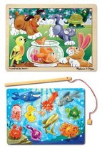 3 Item Bundle: Melissa & Doug 2932 Playful Pets Wooden Jigsaw Puzzle and 3778... - $20.05