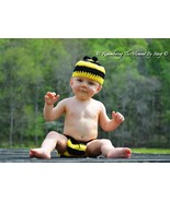 Hand crocheted baby Bumble Bee beanie/cap/hat & diaper cover  photo prop - $25.00