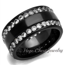 WOMEN'S BLACK STAINLESS STEEL CRYSTAL ETERNITY WIDE BAND FASHION RING SI... - $20.69