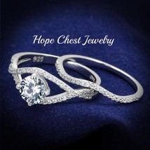 WOMEN'S STERLING SILVER ROUND CUT CZ ENGAGEMENT & WEDDING RING SET SIZE ... - $29.69