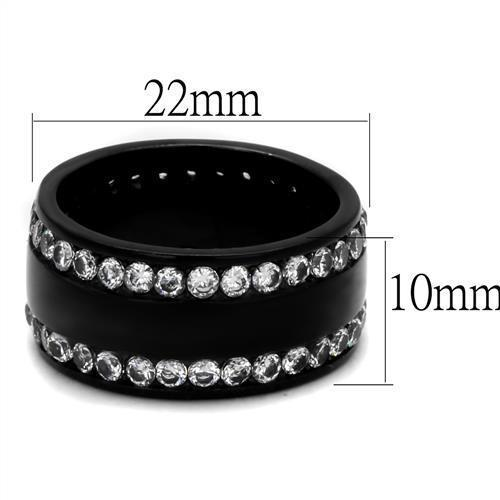 WOMEN'S BLACK STAINLESS STEEL CRYSTAL ETERNITY WIDE BAND FASHION RING SIZE 5 -10