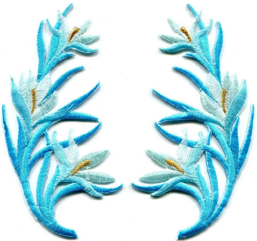 baby blue trim fringe flower boho art deco applique iron. Black Bedroom Furniture Sets. Home Design Ideas