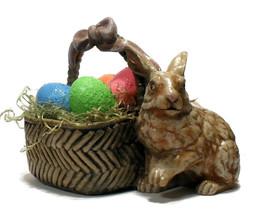 Easter Rabbit Bunny w/Basket of Eggs Handmade Holiday Figurine - $28.00