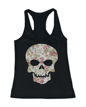 Floral Skull Women's Tank Flower Pattern Design Racer back Tank for Halloween - $14.99+