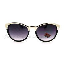 Metallic Top Women's Fashion Sunglasses Thin Round Designer - £6.42 GBP