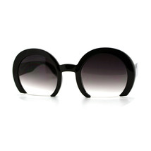 Cropped Shaved Round Frame Sunglasses Women's Designer Fashion - $9.85+