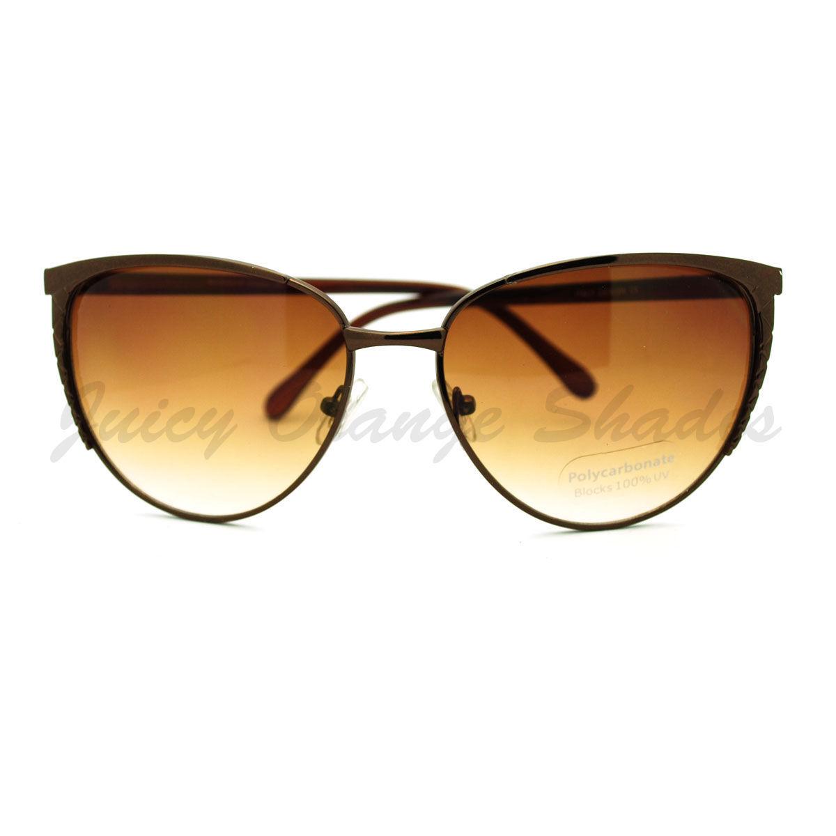 Womens Round Cateye Sunglasses Thin Metal Feminine Style