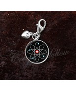 925 Sterling Silver Charm Atom Atomic Model Physics Science - $25.25