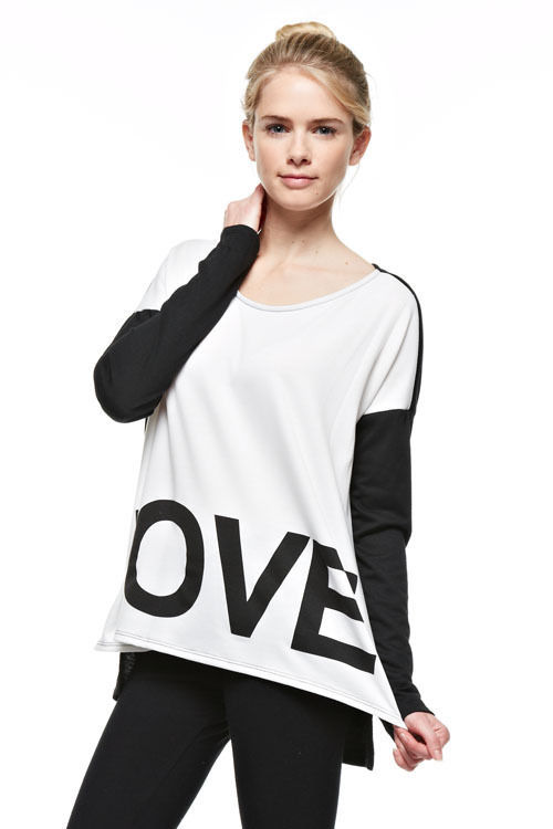 Primary image for Womens Girls LOVE Color Block Oversized Comfy Soft Casual Fashion Sweat Shirt