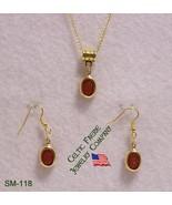 SM-118 -Dark Orange Acrylic Scarab On Gold Plat... - $12.38