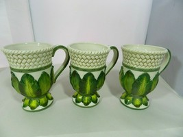 Fitz & Floyd Cape Town Footed Mugs w/ Handle Basket Weave Embossed Palm Leaves - $29.99