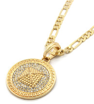 "Mens Medallion Pyramid Pattern Gold Clear 24"" Figaro Chain Pendant Necklace - $13.85"