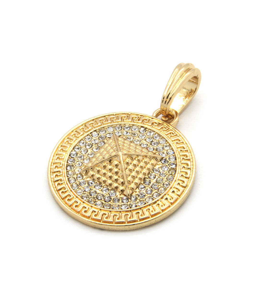 """Mens Medallion Pyramid Pattern Gold Clear 24"""" Figaro Chain Pendant Necklace"""