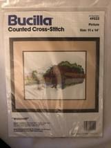 "Bucilla Counted Cross Stitch ""Watermill"" 49522 11X14 - $25.73"
