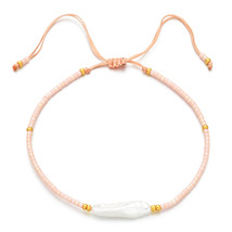ZMZY Handmade Adjustable Natural Irregular Bar Freshwater Pearl Bracelet Luxury  - $16.59