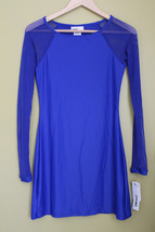 NWT DKNY Electric Blue Scuba Dress LS Mesh Sexy Beach Swim Cover Up XS $120 - $38.40