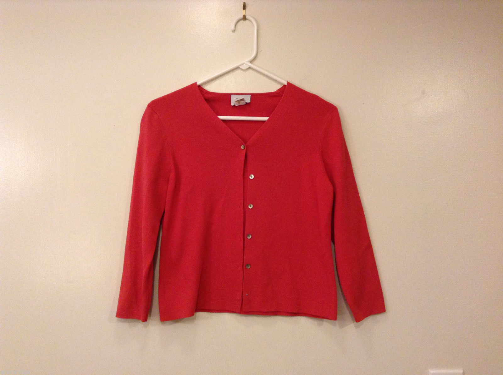 Anne Taylor LOFT Women's Cardigan Sweater Vibrant Red V-Neck Button-Down Front