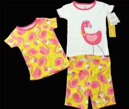 3 Pc Carter's Yellow & Pink Flamingos Tops Sparkles (2) & Shorts 2T NWT ... - $19.99